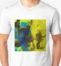 psychedelic splash painting abstract in yellow blue and black Unisex T-Shirt
