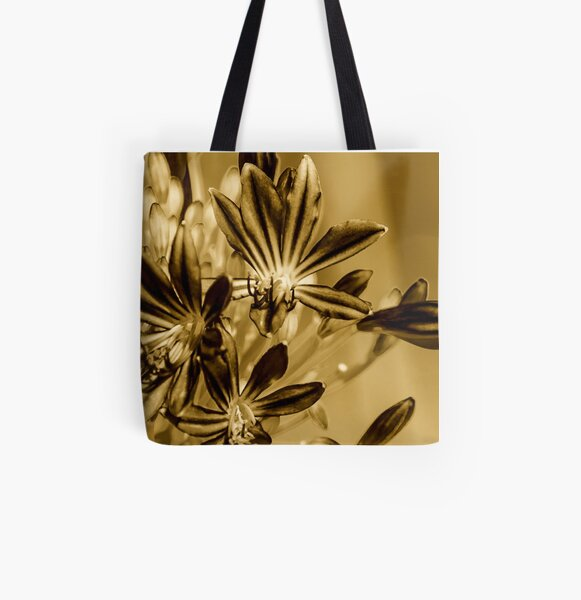 Flowers in Sepia Impression All Over Print Tote Bag