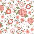 Pink Rose and Cherry Blossom Pattern by hocapontas