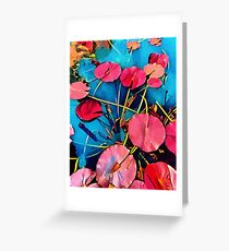 Water Flowers Pop Red and Blue Greeting Card
