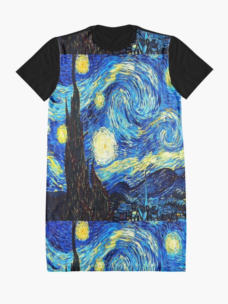 Alternate view of Starry Night - Vincent Van Gogh Graphic T-Shirt Dress