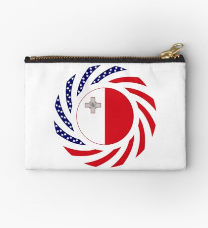 Maltese American Multinational Patriot Flag Series Zipper Pouch