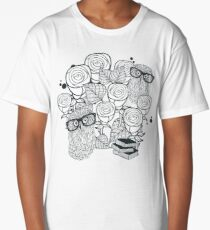 White roses and owls Long T-Shirt