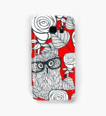 White roses and owls Samsung Galaxy Case/Skin