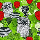 Red roses and clever owls by Ekaterina Panova