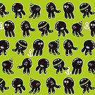 Black cute octopuses by Ekaterina Panova