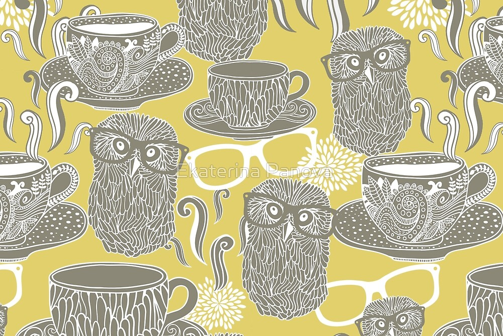Tea owl yellow by Ekaterina Panova