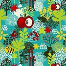 Bee and apple by Ekaterina Panova