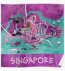 Singapore Illustrated Map Poster
