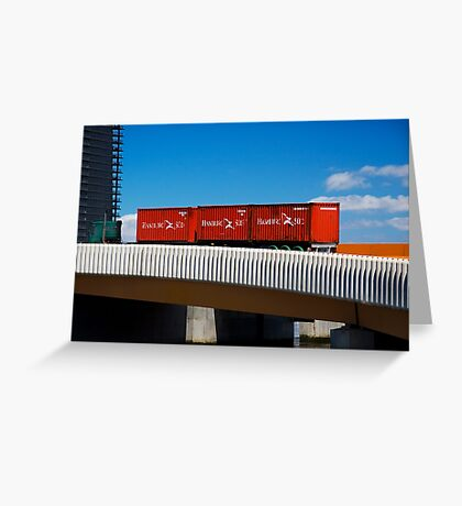 Red Containers on a Yellow Bridge Greeting Card