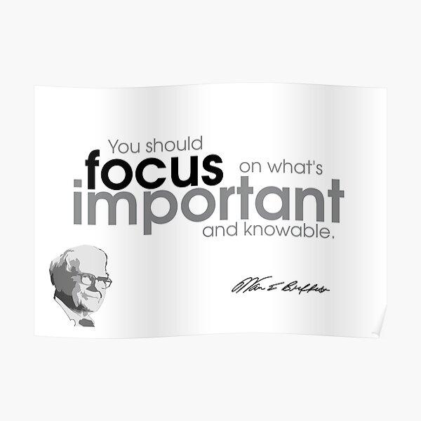 focus is important - warren buffett Poster