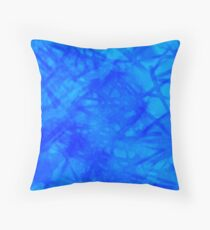 Abstract Brush Strokes in Blue Throw Pillow