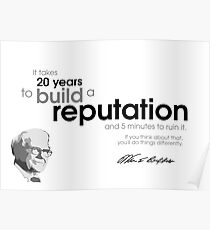 20 years reputation - warren buffett Poster