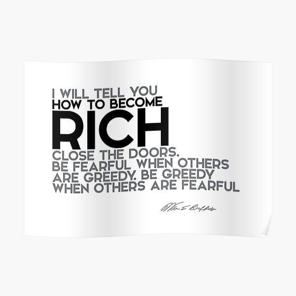 how to become rich - warren buffett Poster