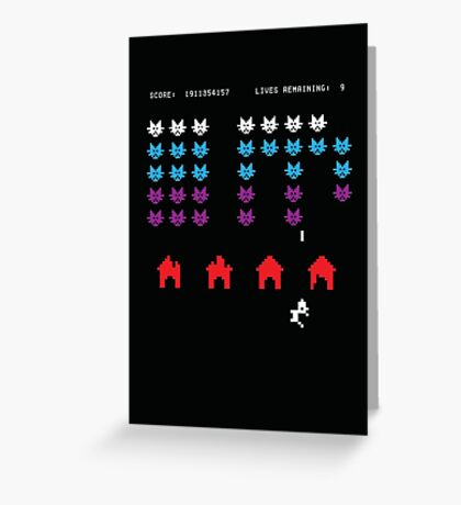 Puss Invaders Greeting Card