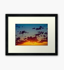 Beautiful Blue And Orange Tranquil Summer Sunset Background Framed Print