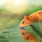 Squirrel at the water by jenteva