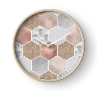 Quot Gentle Rose Gold And Marble Hexagons Quot Throw Pillows By