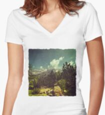 Italian Mountains Women's Fitted V-Neck T-Shirt