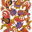 Paisley of '71 - orange by Carrie Dennison