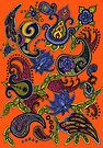 Paisley of '71 - black on orange by Carrie Dennison