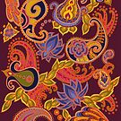 Paisley of '71 - orange on burgundy by Carrie Dennison