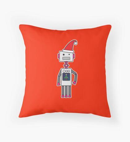Christmas Robot Throw Pillow