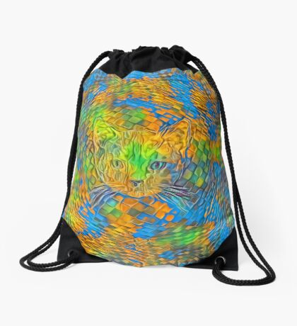 Cat. Every day is Earth Day. Drawstring Bag