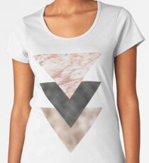 Textured marble and rose gold triangles Women's Premium T-Shirt