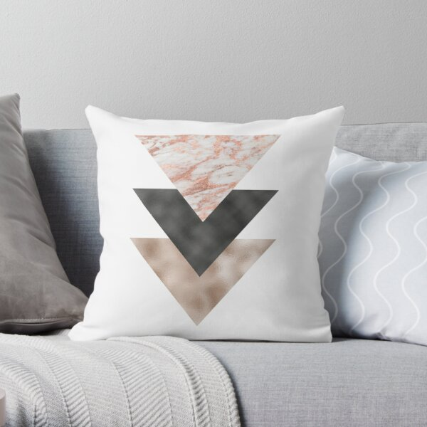 Textured marble and rose gold triangles Throw Pillow