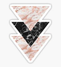 Marbles rose gold gilded triangles Sticker