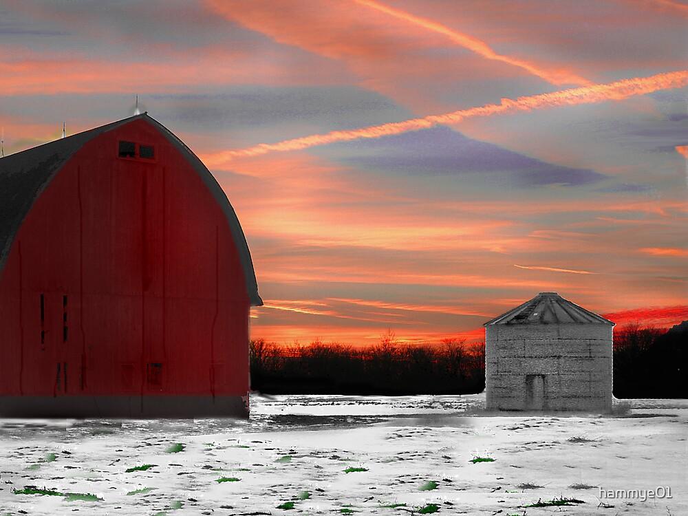 Sunset over the barn by hammye01