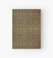 Black and Gold Leaf Bridget Riley Inspired Pattern and Butterfly Hardcover Journal