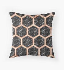 Black campari marble & copper honeycomb Throw Pillow