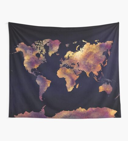 world map 64 Wall Tapestry