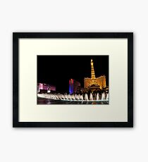 Vibrant Las Vegas - Bellagio Fountains, Paris, Ballys and Flamingo Framed Print