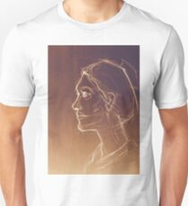 Art sketched beautiful girl face in profile. Drawing illustration. Unisex T-Shirt