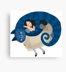 cat and girl Canvas Print