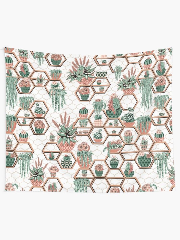 Alternate view of hexagon geometric pattern, 2020, cacti garden, Cacti and Succulent Garden Tapestry