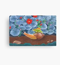 frog and snail travelling into the wild Canvas Print