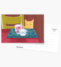 still life with cat and coffeecups Postcards
