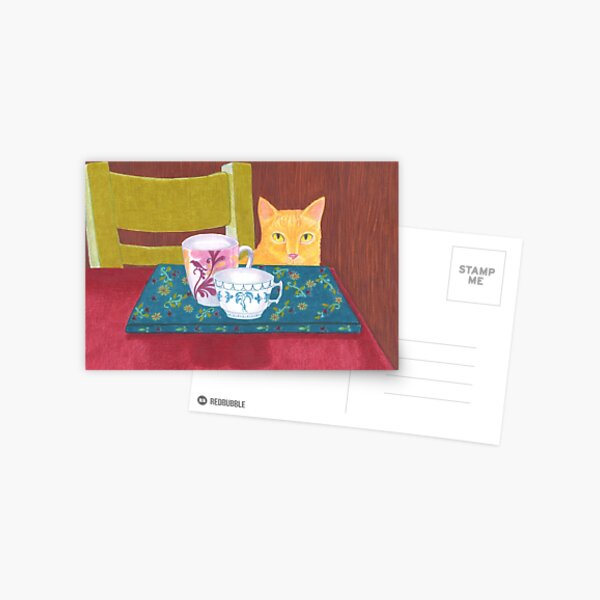 still life with cat and coffeecups Postcard