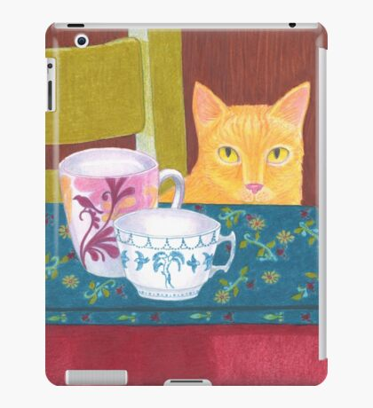 still life with cat and coffeecups iPad Case/Skin
