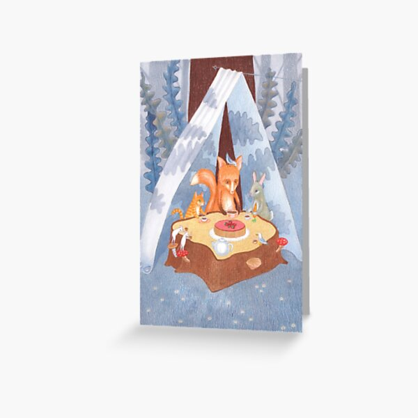 woodland animal round the picnic table Greeting Card