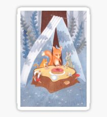 woodland animal round the picnic table Sticker