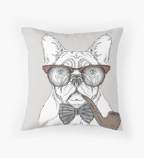 Dog With A Pipe Throw Pillow