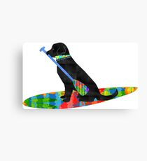 Colorful Stand Up Paddle Board Preppy Black Lab Canvas Print