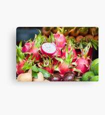 Pitaya fruit on vegetable market Canvas Print
