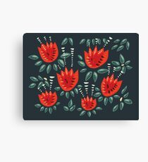 Beautiful Red Abstract Tulip Pattern Canvas Print