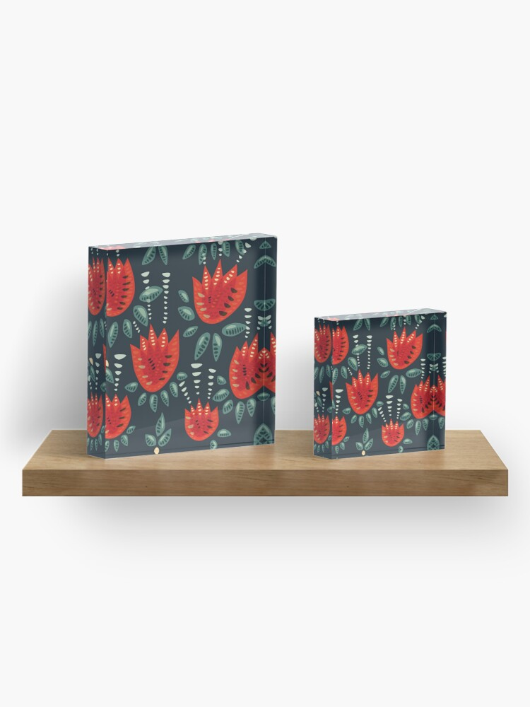 Alternate view of Beautiful Red Abstract Tulip Pattern Acrylic Block